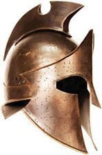 Themistocles Helmets for sale are authentic and officially licensed versions of the real helmet worn by Themistocles in the movie. They are manufactured of 18 gauge steel. These beautifully detailed helmets feature an antique bronze finish. The Themistocles Helmets weigh approximately 4 pounds, 4 ounces. They are fully functional and wearable. They have a soft adjustable padded cloth lining.
