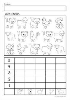 MEGA Math & Literacy Worksheets & Activities - Down on the Farm. 100 Pages in total!! A page from the unit: Count and graph farm animals.