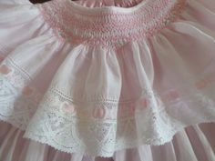 Made in 1987. Pink Swiss batiste and French laces. #heirloomsewing #swissbatiste #smocking