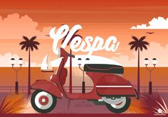 The Creative Agency Vespa Illustration, Flat Design, Mickey Mouse, Disney Characters, Fictional Characters, Digital Art, Illustrations, Creative, Michey Mouse