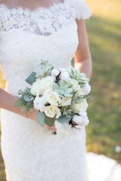 Allure Bridal, DIY Bouquet, Succulents, Roses, Cotton, Lace Dress, Southern Wedding, Rustic Wedding, Farm Wedding, Fall Wedding; Oak Level Farm