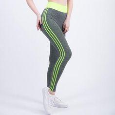 9dd98667e7 Vertical Stripes Side Leggings Women High Waist Drawstring Long Pants 2018  Spring Active Workout Leggings