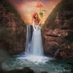 Wonderfalls - A conceptual fine art photography print / wall art - Fantasy art featuring a girl in a waterfall holding a flower.