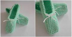 Miętowe pantofelki z białą wstążką :) <3
