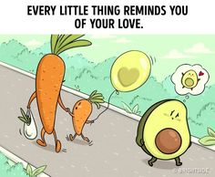 You can hardly find a person that never fell in love. Love changes even the most reserved people and pushes them to do silly things and heroic deeds. Bright Side created cute comics for you in which every couple in love will recognize themselves. Funny Cartoon Images, Food Cartoon, Comics Love, Cute Comics, Avocado Cartoon, Cheer Up Quotes, Couple Memes, Cute Avocado, Avocado Food