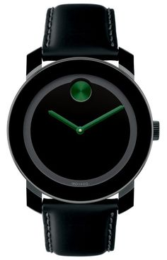 Movado Bold - Large Movado BOLD watch, 42 mm black TR90 composite material and stainless steel case, black dial with dark green dot and hands, coated black leather strap with purple lining and black ion-plated stainless steel buckle, K1 crystal, Swiss quartz movement, water resistant to 30 meters.