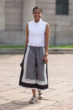 Spring 2014 Street Style Trends: Cool in Culottes Street Style Trends, Street Style Chic, Milan Fashion Week Street Style, Milano Fashion Week, Spring Street Style, Spring Style, Printemps Street Style, How To Wear Culottes, Culottes Style