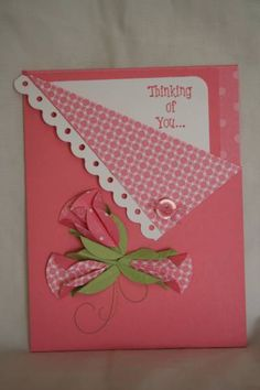 Pink Pocket by razldazl - Cards and Paper Crafts at Splitcoaststampers (I just like the concept of the pocket card but I'd have to totally make a vintage style one for this instead of the pink cutesy card shown.)