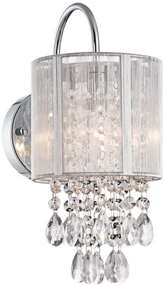 """Silver Line Shade 12"""" High Chrome and Crystal Wall Sconce -"""