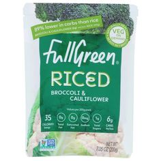 Fullgreen Riced Broccoli And Cauliflower, 7.05 oz, Pouch - Walmart.com Broccoli Rice, Broccoli Cauliflower, Frozen Cauliflower Rice, Snack Recipes, Low Carb Recipes, Edible Creations, Gluten Free, Chips, Vegan