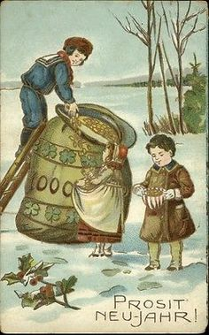German New Year Children Money Bag Fantasy c1910 Postcard