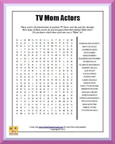 """TV Moms Word Search - Each of these """"Moms"""" entertained us for years on their popular TV series. Do you remember what show each was in? How many times could you see your own mom in these women? How many of these did you wish were your mom? Printable Puzzles, Crossword Puzzles, Printable Labels, Free Printables, Reasoning Test, Back To School Teacher, School Stuff, Tv Moms, 4th Grade Math Worksheets"""