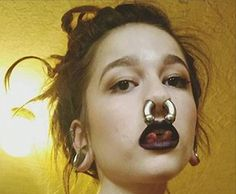 Beauties with strong personality and expression and stretched septum rings from Feel free to submit your own facial pictures to express yourself. No nudes! Spiderbite Piercings, Piercings For Girls, Facial Piercings, Dermal Piercing, Piercing Tattoo, Septum Ring, Stretched Septum, Stretched Ears, Girls With Nose Rings