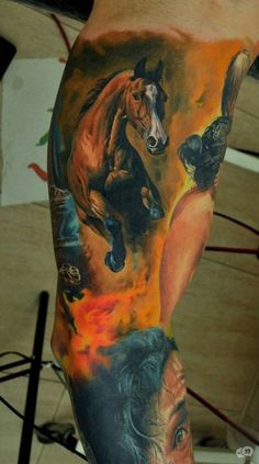 D horse tattoo on sleeve - 40 Awesome Horse Tattoos  <3 <3