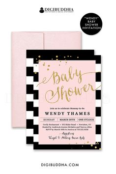 Black and white striped baby shower invitation with blush pink and gold glitter confetti details. Classic glam, also to be used as a wedding invitation, bridal shower, any other event. Pink shimmer envelopes also available. digibuddha.com
