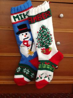 Knitted Christmas Stockings with Santa Dog by BabyBoomerBoutique