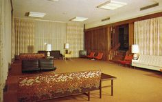 Mammoth Cave Hotel - Kentucky -- This is the most 60s lobby/lounge simply due to the couch pattern. Those belong in a 60s museum.