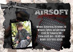 AIRSOFT Invitation Birthday Personalized Photo Gun Shooting Teen kid Boy Invite Boys Party Theme. $12.97, via Etsy.