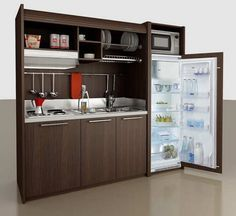 41 + Key Pieces Of Kitchenette Basement Small Spaces Mini Kitchen 196 Micro Kitchen, Compact Kitchen, Kitchen Small, Small Oven, Space Saving Kitchen, Space Kitchen, Tiny Spaces, Small Apartments, Modern Spaces