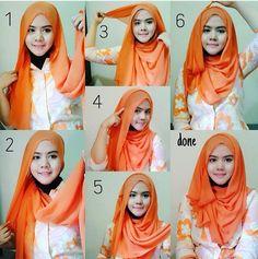 #hijab #tutorial #shawl #stepbystep #easy #sweet Simple Hijab Tutorial, Hijab Style Tutorial, Pashmina Hijab Tutorial, Turban Tutorial, Muslim Women Fashion, Arab Fashion, Fashion 2020, Hijab Wedding Dresses, Hijab Bride