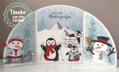 Handmade card by DT member Tineke with Collectables Eline's Snowman (COL1413), Eline's Sleigh and Floe (COL1415), Eline's Penguin (COL1416), Eline's Igloo and Mountain (COL1417), Craftables Skis and Snowflake (CR1252), Creatables Spar (LR0378) and Design Folder Winter Landscape (DF3421) from Marianne Design