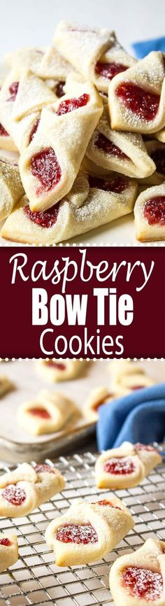 Raspberry Bow Tie Cookies are a perfect cookie to add to your holiday cookie platter!  via @Beyondthecoop