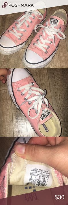 salmon-pink converse. light wear. size 7 good condition Converse Shoes Sneakers