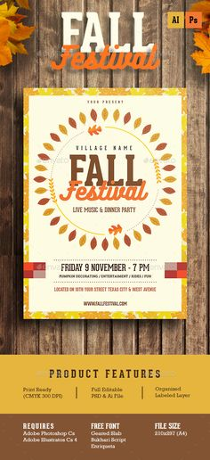 Fall Festival Flyer Poster Flyer template, Graphics and Typography - fall flyer
