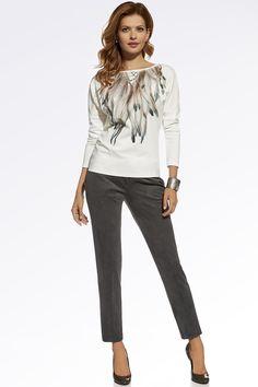 Women trousers model 62396 Enny. Size Lenght Hips width Waist width    36 95.5 cm 96 cm 75 cm   38 96 cm 100 cm 79 cm   40 96.5 cm 104 cm 83 cm   42 97 cm 108 cm 87 cm   44 97.5 cm 112 cm 91 cm   46 98 cm 118 cm 97 cm