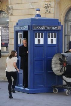 Peter Capaldi and Jenna Coleman during the filming of Doctor Who in Queen Street Cardiff