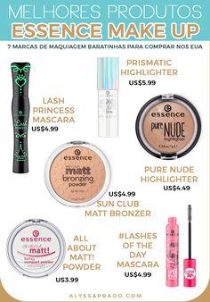 Os melhores produtos da essence Make Up! veja mais dicas de marcas de maquiagem baratinhas para comprar nos Estados Unidos nesse post! Canal E, Hair Sticks, Bronzer, Mascara, Lashes, Eyeshadow, Make Up, Perfume, Cosmetics