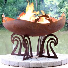 The Fire Pit Gallery Ocean Fire Dolphin Custom Steel Fire Pit Fire Pit Gravel, Metal Fire Pit, Garden Fire Pit, Concrete Fire Pits, Wood Burning Fire Pit, Fire Fire, Fire Pit Chairs, Gas Fire Pit Table, Diy Fire Pit
