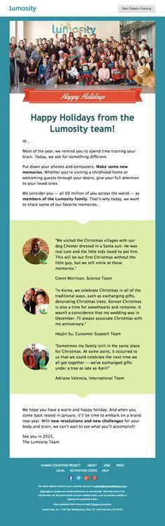 Lumosity email newsletter December 2014