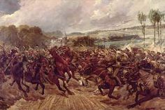 Charge of the 9th Queen's Royal Lancers during the retreat from Mons, September 1914 - the last 'lance against lance' charge in the history of the British Army.