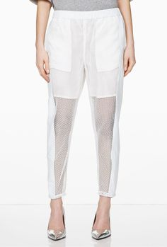 Flicka Leather And Graphic Lace Trousers by Avelon
