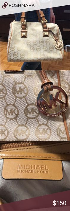 MK logo satchel brand new !!!!!! Pin dot monogram canvas with tan leather trim and polished golden tone hardware *Lined interior with zippered pocket and 4 open slip pockets *Zippered top closure with Michael Kors removable circular logo hang charm *Dual  Material: Canvas with Leather Trim Golden hardware Product Dimensions: 9.5 x 12 x 6.5 inches Michael Kors Bags Satchels