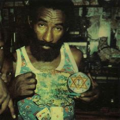 LEE PERRY with children at Black Ark, Kingston, Jamaica, '78