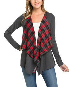 Charcoal & Red Plaid-Lined Open Cardigan