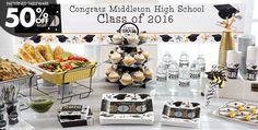 Black, Gold & Silver Graduation Party Supplies
