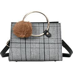 Gray Pompom Plaid Striped Handbag (€9,04) ❤ liked on Polyvore featuring bags, handbags, tote bags, man tote bag, purse tote, handbag purse, stripe tote and handbags totes