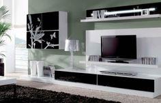 meuble Tv à motifs déco Modern Tv, Design Moderne, Flat Screen, Motifs, Pink, Tv Wall Decor, Wall Tv, Black And White, Home