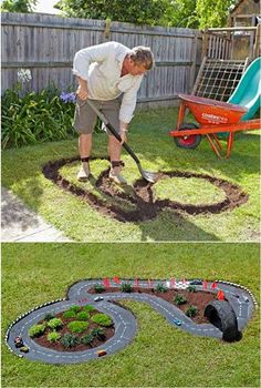 DIY Projects for Kids Inspired by Race Car Tracks 2019 Great way to get them playing outdoors! The road is cement which has been painted black. The post DIY Projects for Kids Inspired by Race Car Tracks 2019 appeared first on Backyard Diy. Diy Projects For Kids, Outdoor Projects, Garden Projects, Diy For Kids, Cool Kids, Crafts For Kids, Kids Fun, Backyard Projects, Diy Garden Ideas For Kids