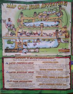 The map of Gatorland. This gives you an idea of the shows and scenes you will see there. Read the article (link) for more tips.