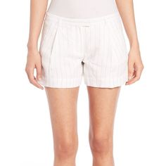 ATM Anthony Thomas Melillo Pleated Pinstripe Shorts ($260) ❤ liked on Polyvore featuring shorts, apparel & accessories, white stripe, pinstripe shorts, stripe shorts, pleated shorts, fold over shorts and white tailored shorts
