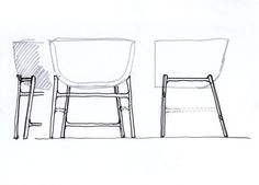 A sketch showing the detailing of the leg frame base; the shell sits gently on top. by cecilie manz