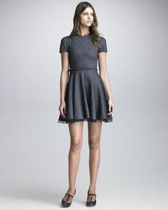 Point d\'Esprit Trimmed Tweed Dress by RED Valentino at Bergdorf Goodman.