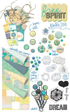 Prima's CHA Winter 2014 Peeks! Free Spirit will inspire you to open up and jump on the papercrafting fun train! Look for trendy, free-flowing graphics; a gorgeous, energetic color palette; and sweet cutting-edge embellishments! #chawinter2014