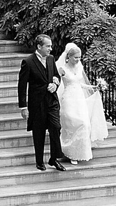 The Best Dressed Celebrity Brides of All Time - Tricia Nixon from #InStyle TRICIA NIXON The first wedding to ever to take place in the White House Rose Garden was Tricia Nixon and Edward Cox's 1971 fete. The bride wore a classic lace design by Priscilla of Boston.