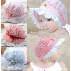 100% brand new and high quality A beautiful, elastic, stylish sun cap. Elastic ribbon designed to fasten hat and the bowknot make your baby lovely and fashion