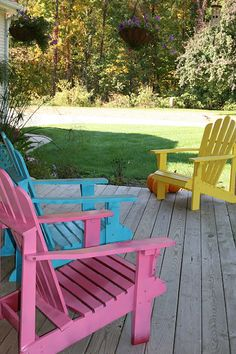 candy colored adirondack chairs
